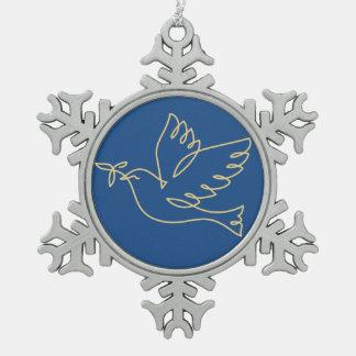 平和鳩アイコン スノーフレークピューターオーナメント