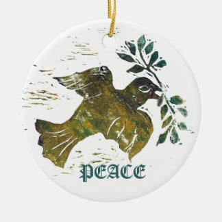 平和鳩-色のブロックプリント セラミックオーナメント