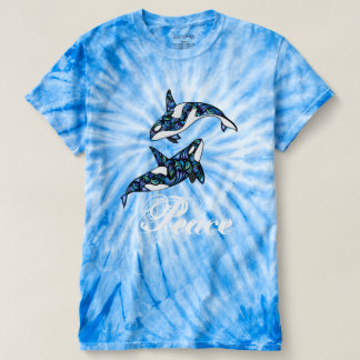 平和~のカラフルでサイケデリックでトリップ(幻覚体験)のようななシャチのクジラ Tシャツ