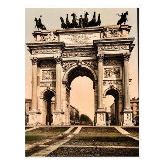 平和、ミラノ、イタリアのヴィンテージPhotochromのアーチ ポストカード