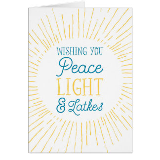 平和、ライトおよびLatkesのハヌカーカードを望みます カード
