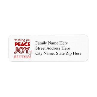 平和、喜び及び幸福の住所シール ラベル