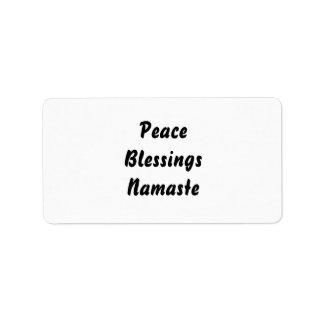 平和、恵み、ナマステ。 白黒 ラベル