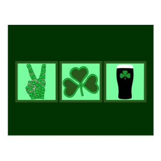 平和、愛およびアイルランドビール ポストカード