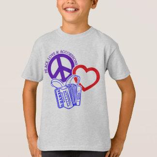 平和、愛およびアコーディオン Tシャツ