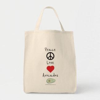 平和、愛およびアボカドの食料雑貨のトート トートバッグ