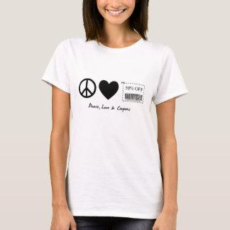 平和、愛およびクーポン Tシャツ