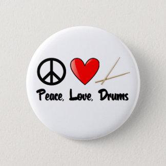 平和、愛およびドラム 缶バッジ