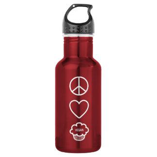 平和、愛およびビーガンのカップケーキの自由のボトル ウォーターボトル