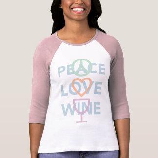 平和、愛およびワイン Tシャツ