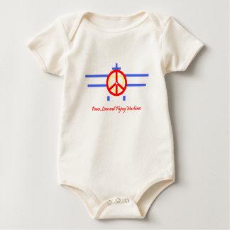 平和、愛および航空機 ベビーボディスーツ