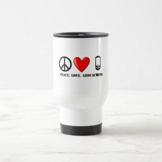 平和、愛およびGeocaching トラベルマグ
