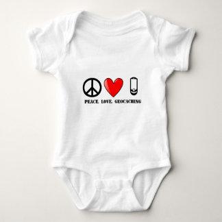 平和、愛およびGeocaching ベビーボディスーツ