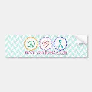 平和、愛は及び治療のバンパーステッカーを見つけます バンパーステッカー