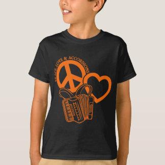 平和、愛及びアコーディオン Tシャツ