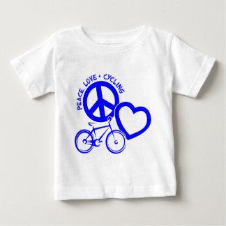 平和、愛及びサイクリング ベビーTシャツ