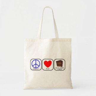 平和、愛及びチョコレートケーキ トートバッグ