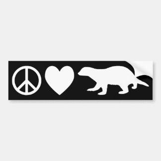 平和、愛及びラーテル バンパーステッカー