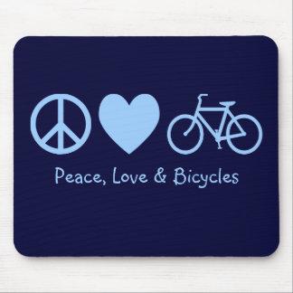 平和、愛及び自転車のマウスパッド マウスパッド