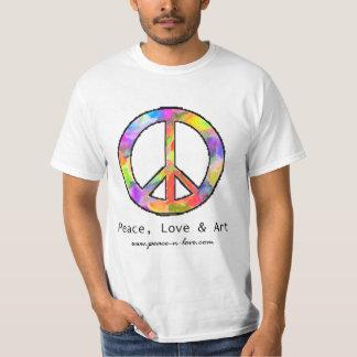 平和、愛及び芸術のピースサインのTシャツ Tシャツ