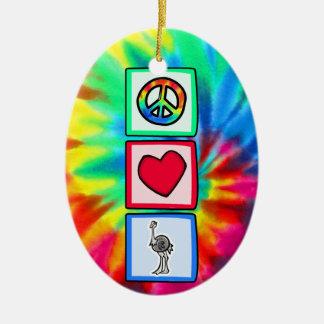 平和、愛、だちょう セラミックオーナメント