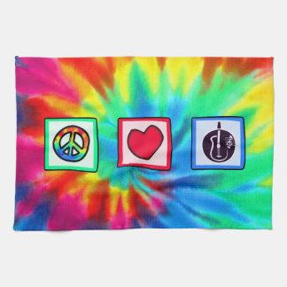 平和、愛、アコースティックギター キッチンタオル
