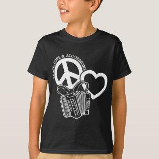 平和、愛、アコーディオン Tシャツ