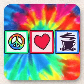 平和、愛、コーヒー コースター