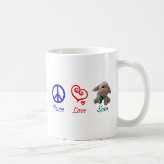 平和、愛、サムヒツジ コーヒーマグカップ