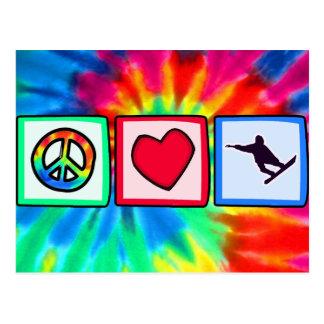平和、愛、スノーボード ポストカード