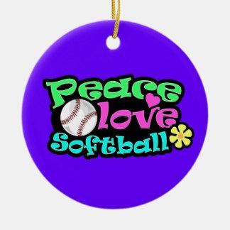 平和、愛、ソフトボール セラミックオーナメント