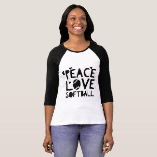 平和、愛、ソフトボール Tシャツ