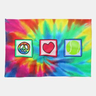 平和、愛、テニス キッチンタオル