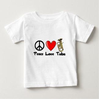 平和、愛、テューバ ベビーTシャツ