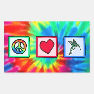 平和、愛、ハチドリ 長方形シール
