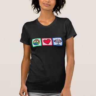 平和、愛、ハヌカー Tシャツ