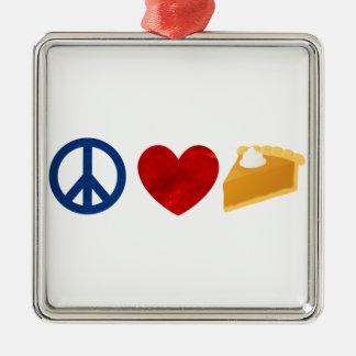 平和、愛、パンプキンパイ メタルオーナメント