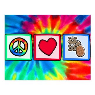 平和、愛、ビーバー ポストカード