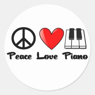 平和、愛、ピアノ ラウンドシール