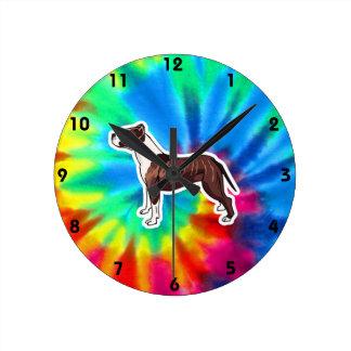 平和、愛、ピットブル ラウンド壁時計