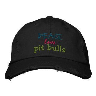 平和、愛、ピット・ブルの険しい帽子 刺繍入りキャップ