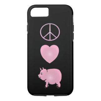 平和、愛、ブタ、堅いピンクのブタのiPhone 7 iPhone 8/7ケース