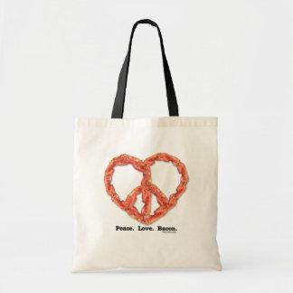 平和。 愛。 ベーコン トートバッグ