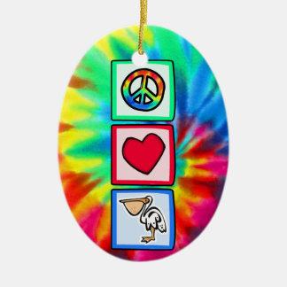 平和、愛、ペリカン セラミックオーナメント