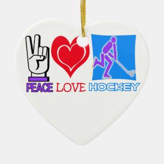 平和、愛、ホッケーのクリスマスのオーナメント セラミックオーナメント