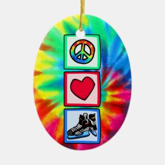 平和、愛、ホッケー セラミックオーナメント