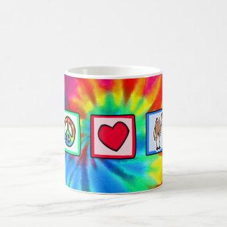 平和、愛、ラクダ コーヒーマグカップ