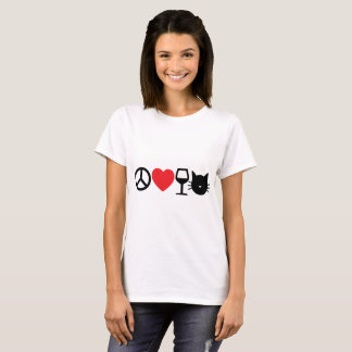 平和、愛、ワインおよび猫 Tシャツ