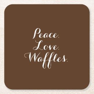 平和。 愛。 ワッフル スクエアペーパーコースター