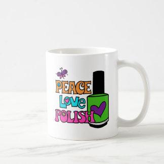 平和、愛、及びポーランド語 コーヒーマグカップ
